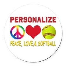 Personalize Girls Softball Round Car Magnet