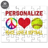 Personalize Girls Softball Puzzle
