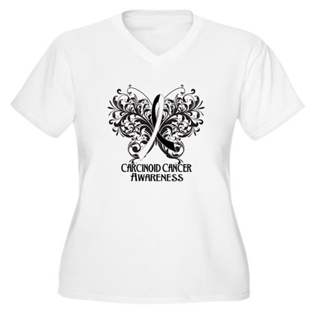 Butterfly Carcinoid Cancer Women's Plus Size V-Nec