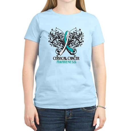Butterfly Cervical Cancer Women's Light T-Shirt