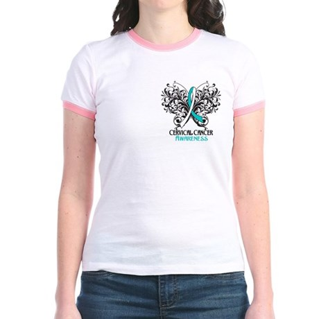 Butterfly Cervical Cancer Jr. Ringer T-Shirt