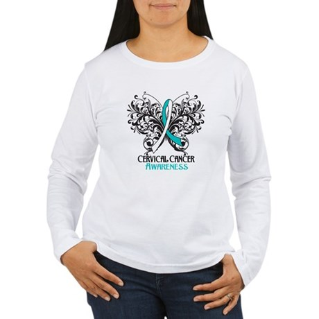 Butterfly Cervical Cancer Women's Long Sleeve T-Sh