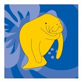 "Manatee Square Car Magnet 3"" x 3"""
