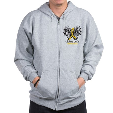 Butterfly Childhood Cancer Zip Hoodie