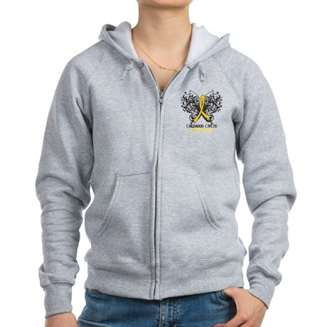 Butterfly Childhood Cancer Women's Zip Hoodie