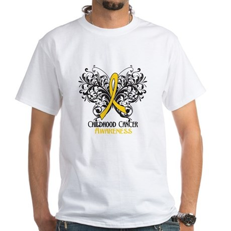 Butterfly Childhood Cancer White T-Shirt