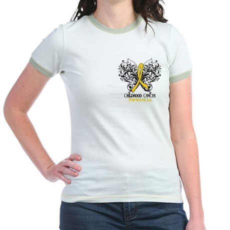 Butterfly Childhood Cancer Jr. Ringer T-Shirt