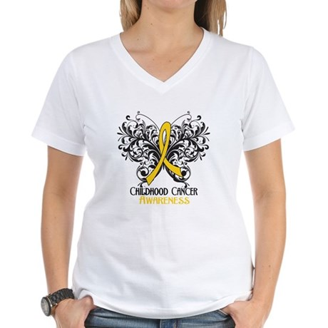 Butterfly Childhood Cancer Women's V-Neck T-Shirt