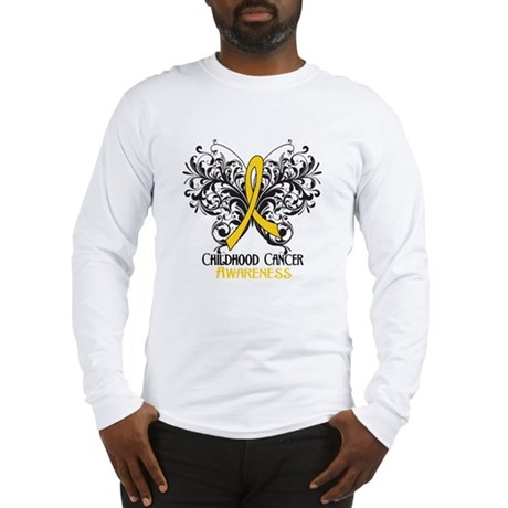 Butterfly Childhood Cancer Long Sleeve T-Shirt