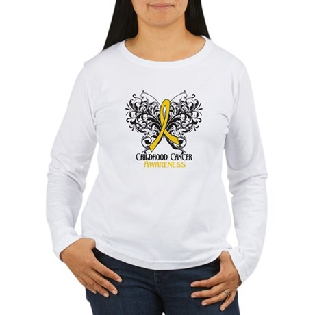 Butterfly Childhood Cancer Women's Long Sleeve T-S