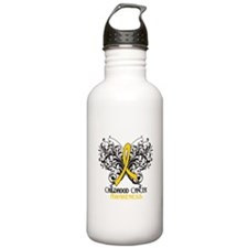 Butterfly Childhood Cancer Water Bottle
