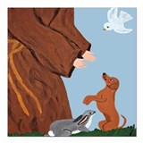 Dachshund And St. Francis Square Car Magnet 3&quot