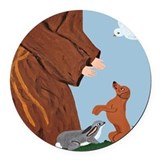 Dachshund And St. Francis Round Car Magnet