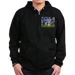 Starry-AussieTerrier2 Zip Hoodie (dark)