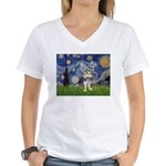 Starry-AussieTerrier2 Women's V-Neck T-Shirt