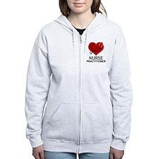 Nurse Practitioner Heart Zip Hoodie