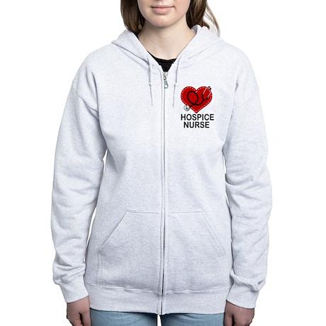 Hospice Nurse Heart Women's Zip Hoodie