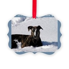 Greyhound Snow Picture Ornament