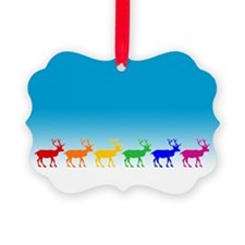 Rainbow Reindeer Picture Ornament