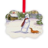 Red Snow Dachshund Ornament
