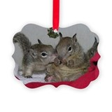 Mistletoe Squirrels Christmas Ornament