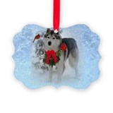 Siberian Husky Christmas Picture Ornament