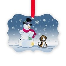 Beagle dog and Snowman Ornament