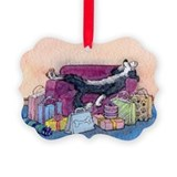 Cute Border collie Picture Ornament