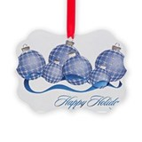 Blue Silver Plaid Ornaments Ornament Pk of