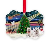 Xmas Magic/2 Westies Ornament