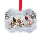 Gr.Pyrenees & Santa,Picture Ornament