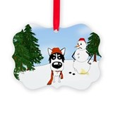 Siberian Husky Holiday Picture Ornament