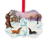 Snow Weiner Dog Picture Ornament