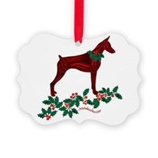 Dobe & Holly Ornament