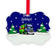 Semi Truck Happy Holidays Picture Ornament0