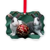 Bunnies with Ornament Christmas Picture Ornament