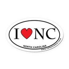 I Love North Carolina Oval Car Magnet