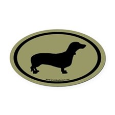 Dachshund Oval (black on sage) Oval Car Magnet
