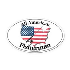 All American Fisherman Oval Car Magnet