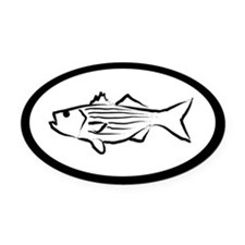 White Striped Bass Oval Car Magnet