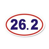 26.2 Marathon Oval Car Magnet Red White and Blue