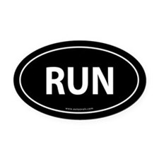 Run Bumper Oval Car Magnet -Black (Oval)