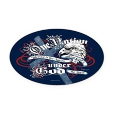 One Nation - Blessed Oval Car Magnet