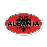 Alabanian Oval Flag Oval Car Magnet