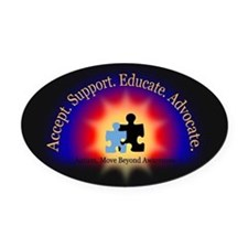 Beyond Awareness (Autism) Dark Oval Car Magnet