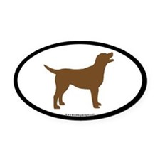 chocolate lab oval (wide border) Oval Car Magnet