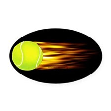 Tennis Flames Oval Car Magnet