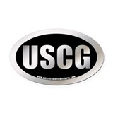 Metalic Coast Guard Oval Car Magnet
