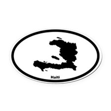 Haiti Outline Oval Car Magnet