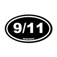 9/11 Remember Black Euro Oval Car Magnet